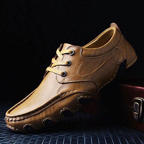 Mulas Zapatos Suave Khaki Zapatos Zapatilla Hombres Xianshu Plano Cordones qtEn6CW
