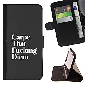 DEVIL CASE - FOR Samsung Galaxy S6 EDGE - Carpe Diem Funny Life Motivational Live Moment - Style PU Leather Case Wallet Flip Stand Flap Closure Cover