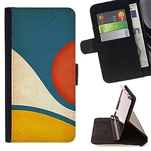 For Sony Xperia Z5 (5.2 Inch) / Xperia Z5 Dual (Not for Z5 Premium 5.5 Inch) Case , Amarillo Azul pastel abstracta minimalista- la tarjeta de Crédito Slots PU Funda de cuero Monedero caso cubierta de piel