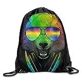 Rainbow Glasses Pande Headphone Waterproof Drawstring Bag Sport Backpack