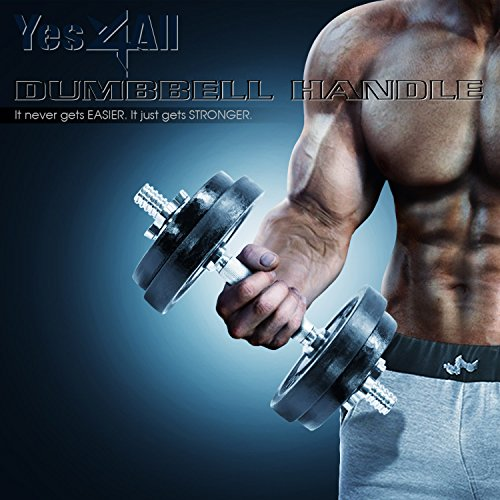 Yes4All Dumbbell Handles Solid Chrome 14-inch x 1-inch With Collars