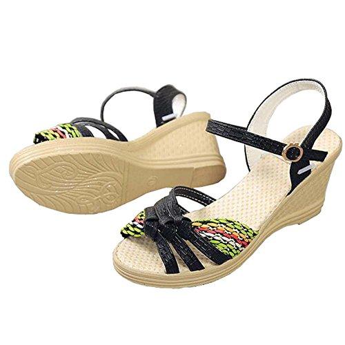 Angelliu Donna Sandali Zeppa Piattaforma Estiva Spiaggia Trincea Sandali Cinturino Con Cinturino Alla Caviglia Nero