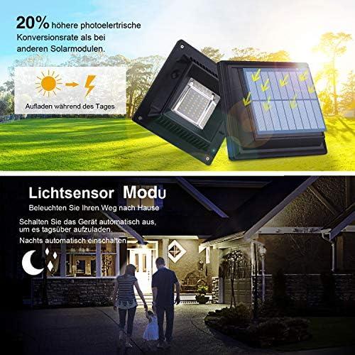 Dachrinne Solarleuchte 40 LEDs | UniqueFire Solarlampen für Außen | Schwarz Gartenbeleuchtung Kaltweißes Solarlicht, 3W Sicherheitswandleuchte Aussen Zaunlicht Außenlampe für Garage, Patio