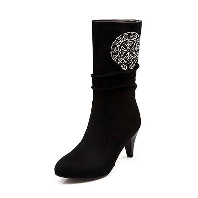 Womens Glass Diamond Chunky Heels Zipper Imitated Leather Boots