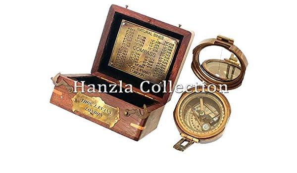 Hanzla Collection Brunton - Brújula náutica de latón macizo en caja de madera clásica: Amazon.es: Bricolaje y herramientas