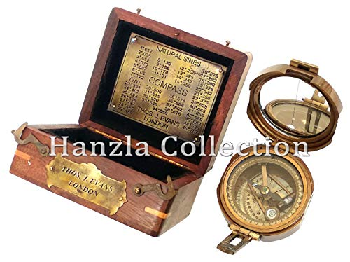 Hanzlacollection Solid Brass Heavy Brunton Nautical Antique Marine Compass in Classic Wooden Box