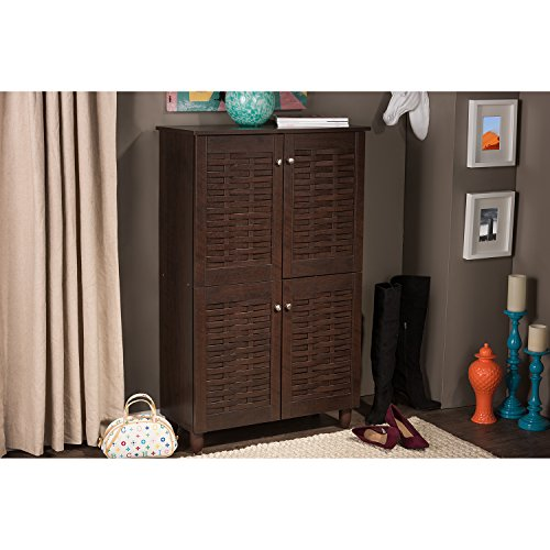 Wholesale Interiors Baxton Studio Winda Modern and Contemporary 4-Door Dark Brown Wooden Entryway Shoes Storage Cabinet -