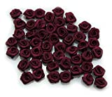 HAND Hand Made Small Ribbon Rose Flower Sew On Trims 15 mm, Embellishments Pack of 50 Burgundy