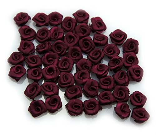 HAND Hand Made Small Ribbon Rose Flower Sew On Trims 15 mm, Embellishments Pack of 50 Burgundy by HAND