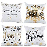 A AIFAMY Merry Christmas Pillow Covers 18 x 18 Inches Square Gold Home Decor, 4 Pack
