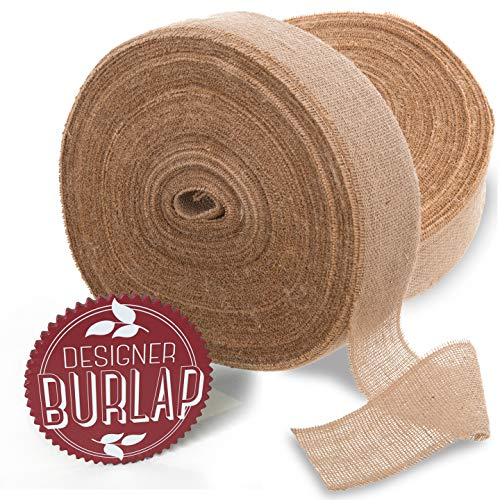 Burlap Ribbon 4'' x 100 Yards with Fringed & Rustic Edges. Perfect Burlap Ribbons Roll for Burlap Bows, Wreaths, and Crafts. by Designer Burlap