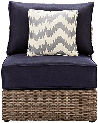 Naples Outdoor Sectional Pieces, ARMLESS CHAIR, GREY NAVY