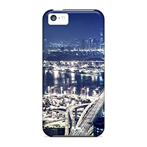 Iphone 5c Case Cover - Slim Fit Tpu Protector Shock Absorbent Case (hong Kong Nights)