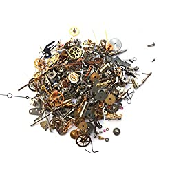 Steampunk Watch Pieces and Parts - 300 plus pieces of TEENY TINY VINTAGE gears, cogs, wheels, hands, crowns, stems, etc.