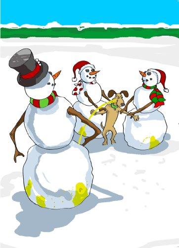 Snowman Peeing on Dog Christmas Card