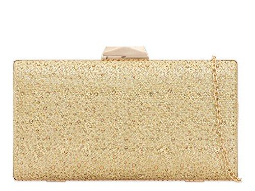 Gold Ladies Wedding Formal Women's Clutch Bridal Party 2 Glittery KT706 Bag Box Bag Handbag OXrx6TqOw