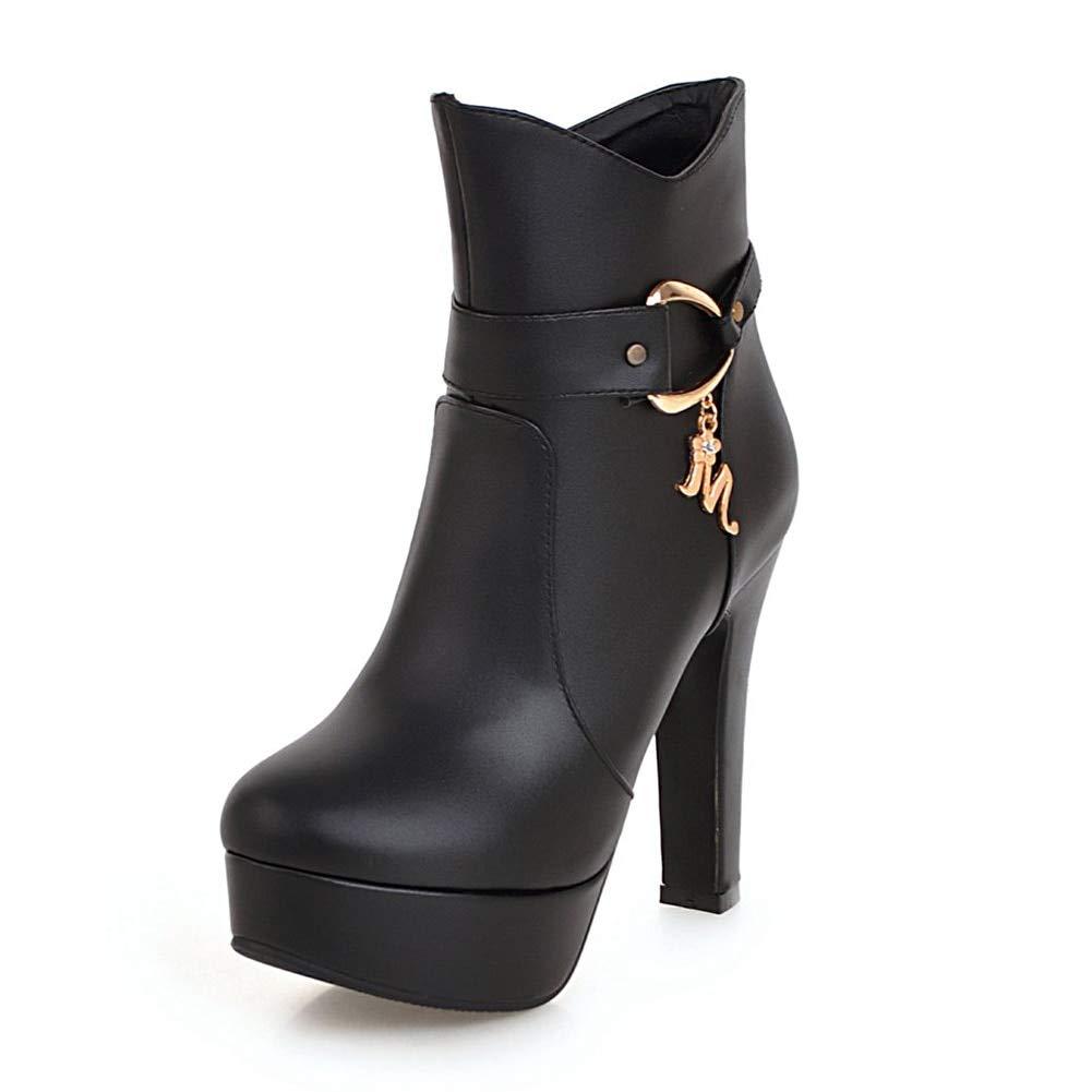 noir noir HOESCZS Plus La Taille 32-48 Zip Up en Métal Décoration Cheville Bottes Femme Chaussures Chunky Talons Hauts Plateforme Bottes Femmes Bottes Chaussures Femme  meilleure qualité