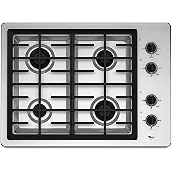 Whirlpool W5CG3024XS 30 Gas Cooktop with 4 Sealed Burners Stainless Steel