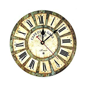 "Indeedbuy 12"" Roman Numeral Wall Clock France Paris Rusted Metal Look French Country Tuscan Style Vintage Clock Wood"
