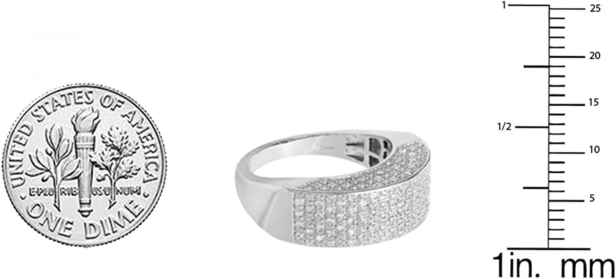 Dazzlingrock Collection 0.50 CT Fancy Design Round Diamond Mens Flashy Hip Hop Iced Pinky Ring 1//2 CT Sterling Silver