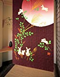 LifEast Japanese Noren Cute Running Rabbits Under Full Moon Kawaii Door Curtain (Red)