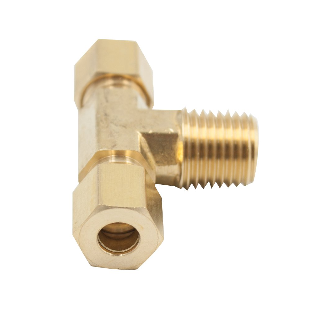 Male Branch Tee 1//4 OD x 1//4 OD x 1//4 NPT Male Pack of 1 Vis Brass Compression Tube Fitting