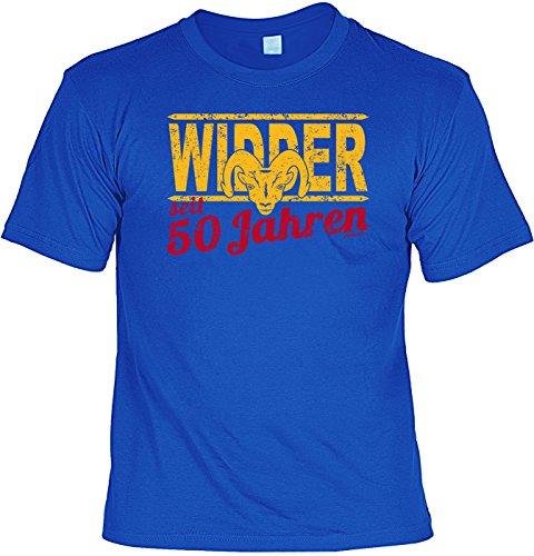 T-Shirt - Sternzeichen-Shirt Widder seit 50 Jahren - das besondere Shirt mit lustigem Print als ideales Geburtstagsgeschenk für Leute mit Humor