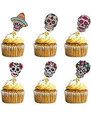 مجموعة كب كيك داي اف ذا ديد من 24 قطعة من ديا دي لوس مويرتوس لتزيين حفلات عيد الميلاد، لوازم الزينة، جمجمة السكر، هيكل عظمي للهالوين المكسيكي