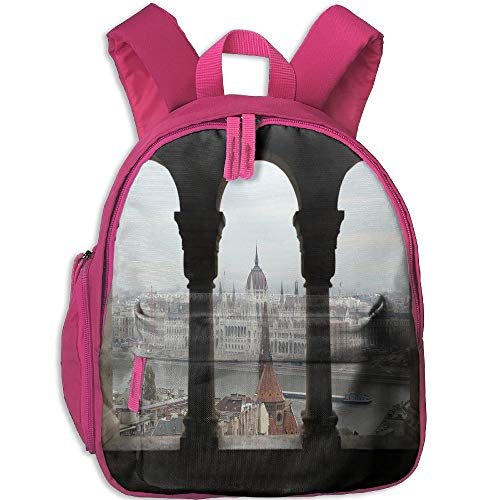 (Haixia Youth Boy's&Girl's Bookbags with Pocket European Hungarian Parliament On The Embankment of The Danube from Ancient Balcony Image)