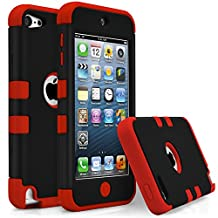 iPod Touch 5 Case, MagicMobile [Armor Shell Series] Double Layer Cover [Hard Shield] + [Flexible Silicone] Hybrid Case for Apple iPod 5th Generation [Impact Shock Resistant] / [ Black - Red ]