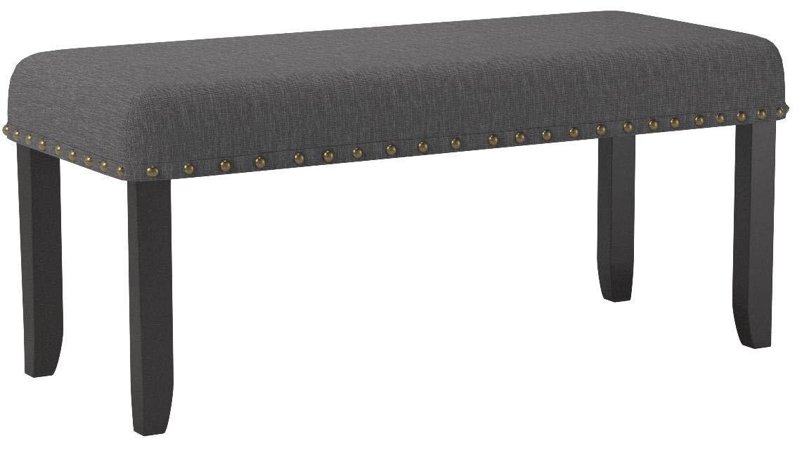 Roundhill Furniture CB162GY Biony Fabric Dining Bench with Nailhead Trim, Grey