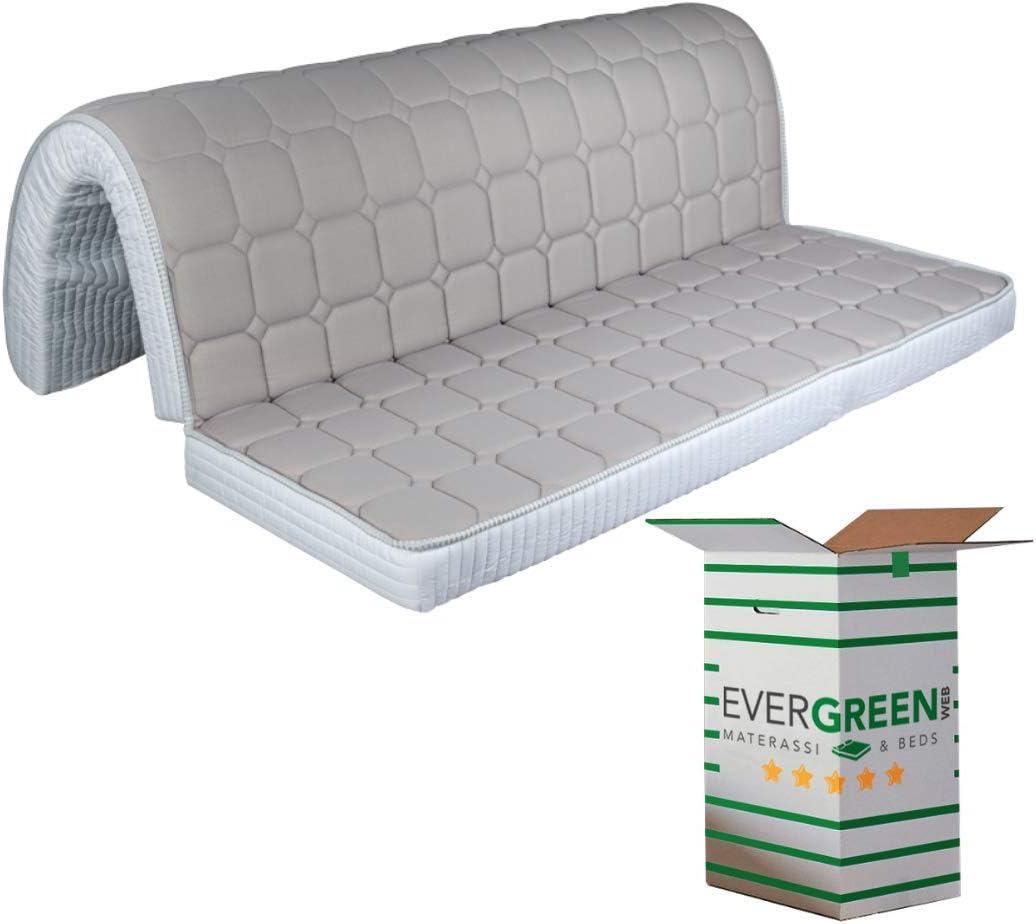 Evergreenweb – Colchón para sofá Cama Plegable de Espuma 80 x 190, Altura 10 cm, Revestimiento Blanco hipoalergénico, ortopédico, ergonómico, Lazos de fijación Bed Sofa