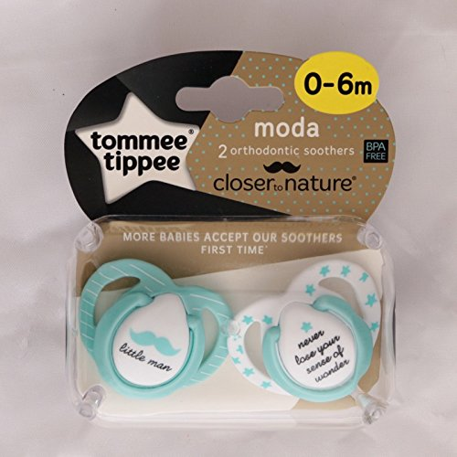 Tommee Tippee Closer To Nature Moda: 2 x Schnuller 0-6m (Little Man/Never Lose Your Sense Of Wonder)