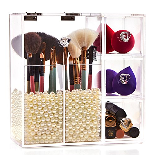 Newslly Clear Acrylic Makeup Organizer with 2 Brush Holders and 3 Drawers, Bathroom Cosmetic Storage Display Box with Free Pearls (Clear Acrylic Lid Organizer)