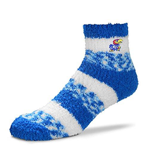 (For Bare Feet NCAA RMC Pro Stripe Fuzzy Sleep Soft Sock -Kansas Jayhawks-Size-Medium )