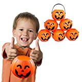 12 Treat Yourself Realistic Pumpkin Sweet Holder Jar with Handles - Candy Goody Halloween Memorable Bag Buckets.