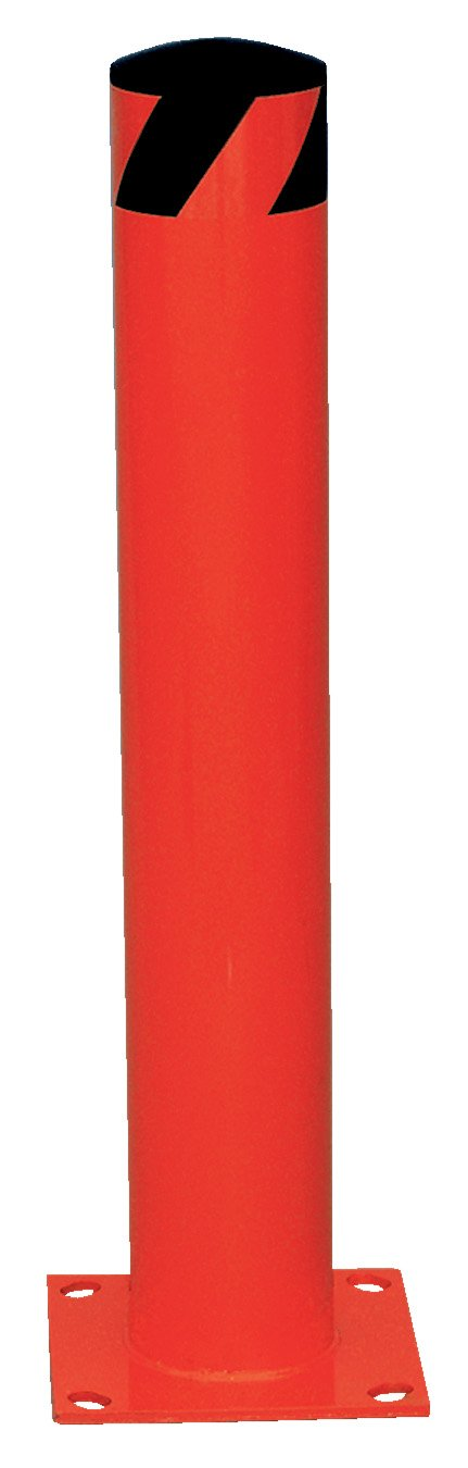 Vestil BOL-24-5.5-RED Steel Pipe Safety Bollard, 24'' x 5.5'', Red