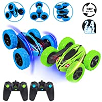 Acekid 2pcs RC Stunt Cars, Kids Toys Remote Control Racing Cars - 4WD 2.4 GHz Remote Control Stunt Car 360° Spins & Flips, RC Vehicle Toy for Boys&Girls, Blue + Green