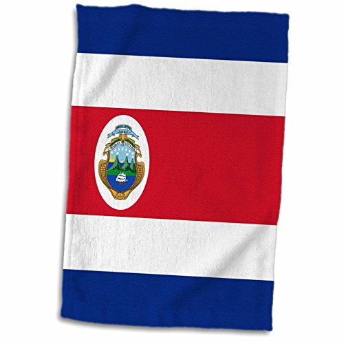 - 3D Rose Flag Rica-Central America-Costa Rican Red White Dark Blue with Tico Coat of Arms Ensign Towel, 15