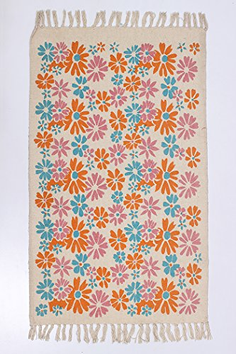Floor Doormat Southwestern Floral Cotton Indoor Mat 2' X 3' ( 58 X 93 CM) Welcome Mat Multi-Color Handmade Dining Room - 58 93
