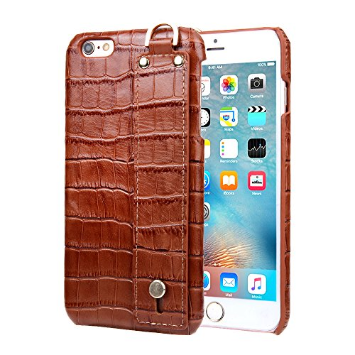 iPhone 6 Plus Case, iPhone 6s Plus Case, Luxury Alligator Pattern Cowhide Leather Back Cover Case with Hand Strap for iPhone 6 Plus/iPhone 6s Plus (Brown)