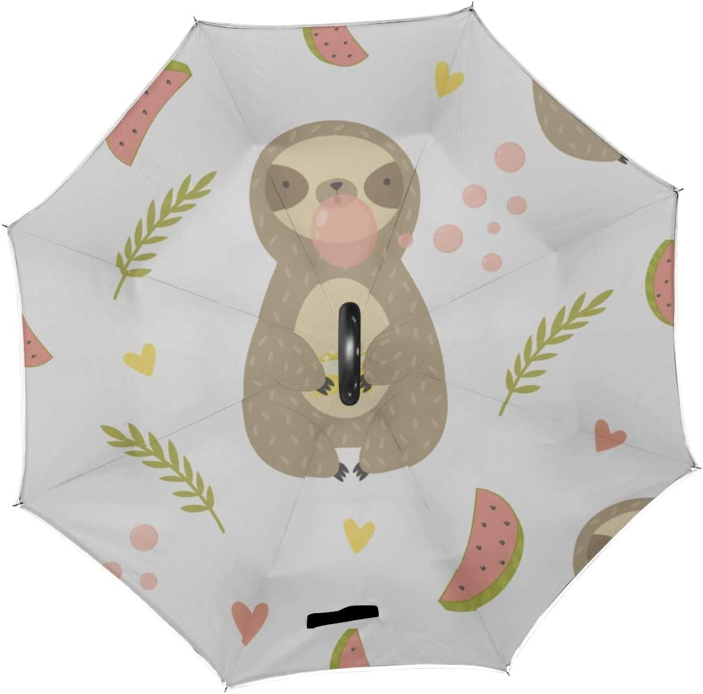 Double Layer Inverted Inverted Umbrella Is Light And Sturdy Tropical Pattern Sloth Chewing Bubble Reverse Umbrella And Windproof Umbrella Edge Night