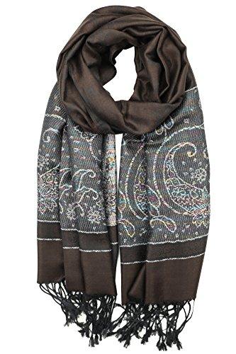 Achillea Women's Two Toned Paisley Lurex Jacquard Pashmina Shawl Wrap Scarf (Dark Brown)