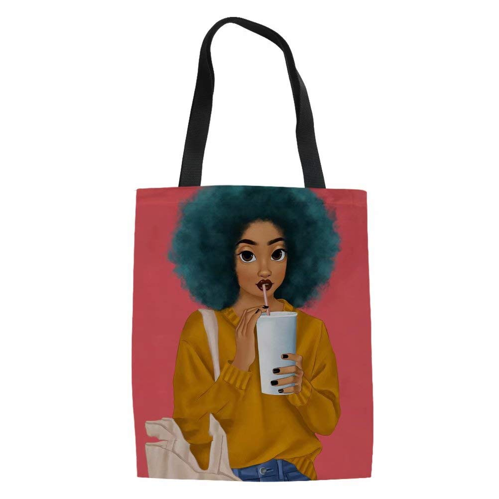 Black African Girls Design Linen Shopping Tote Bag Salabomia Girls Handbag,Women Shopping Shoulder Bag