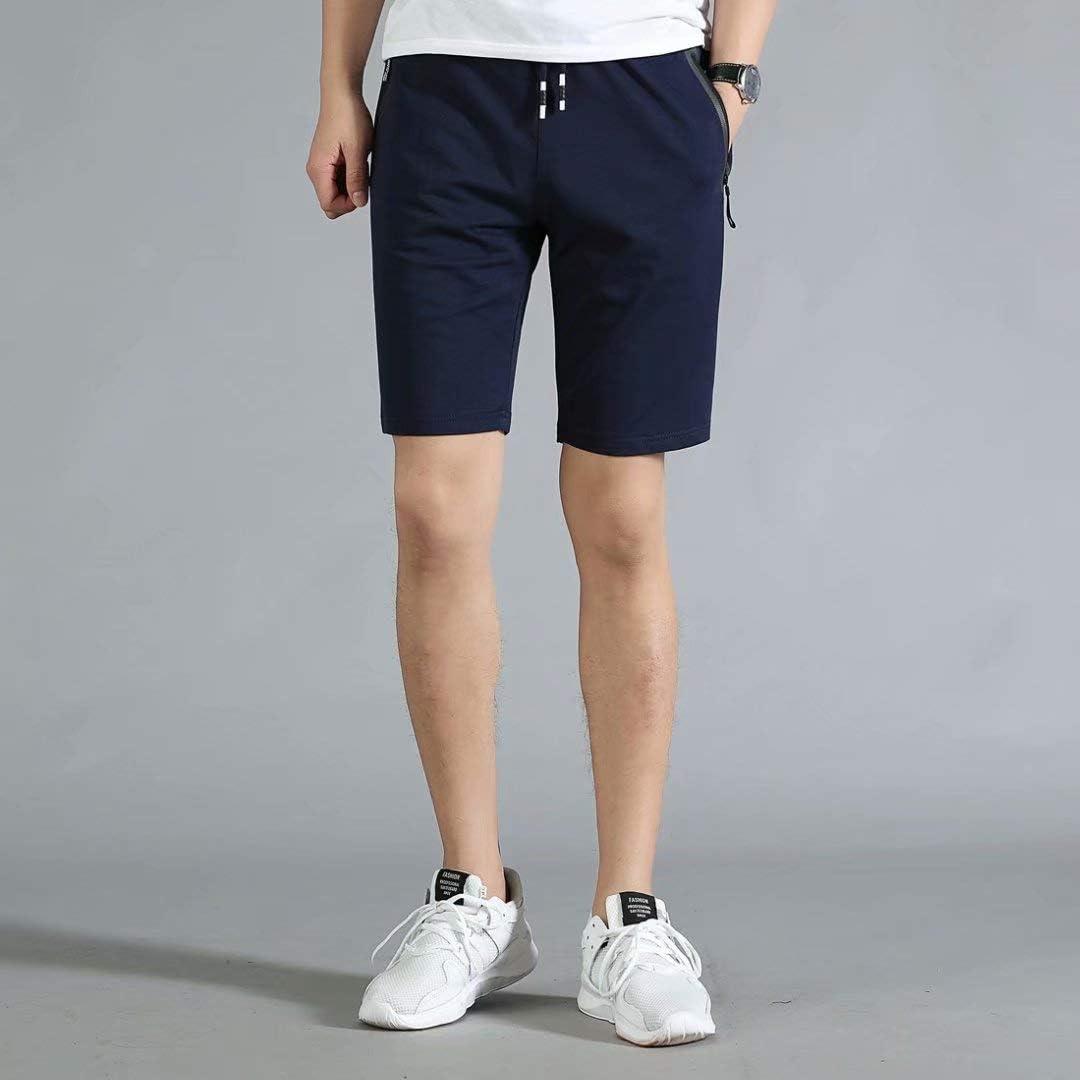 STICKON Mens 7 Inseam Workout Shorts Elastic Waist Drawstring Summer Casual Short Pants Zipper Pockets