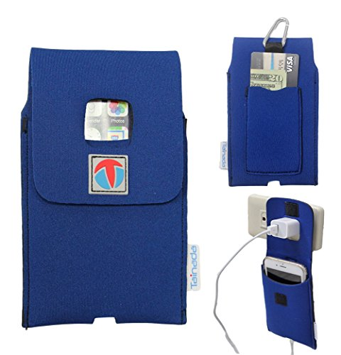 """5.5"""" - 6"""" Tainada Multi-Purpose Shockproof Neoprene Smartphone Pouch Case Sleeve [Wall Charger Hanger] with Card Holder, Carabiner and Lanyard for iPhone 8 Plus, 7 Plus, 6s Plus and more! (Blue) by Tainada"""