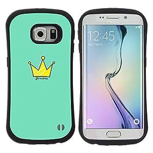"""Hypernova Slim Fit Dual Barniz Protector Caso Case Funda Para Samsung Galaxy S6 EDGE [Rey Cita de Oro Verde Real""""]"""