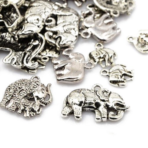 30 Grams Antique Silver Tibetan Random Shapes & Sizes Charms (ELEPHANT) - (HA07410) - Charming Beads Something Crafty Ltd