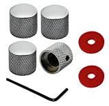 #10: YMC 4 Pieces Heavy Metal Tone Volume Speed Control Dome Knobs for Electric Guitar or Bass, Pack of 4,-- Chrome