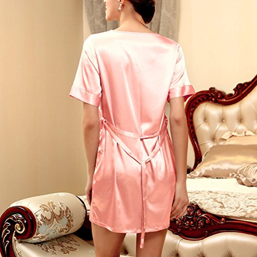 Zhhlaixing Summer Womens Short Sleeves Pajama Comfortable Home Sleepwear 3 Colors Pale Pink